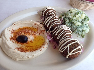 Gluten-free falafel and hummus