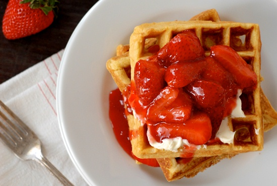 Fritos Gluten-Free Waffles with Strawberry Compote and Mascarpone Cheese