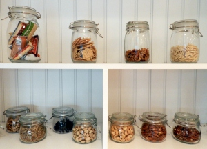 Gluten-free healthy snacks on shelf